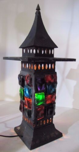Mid Century Chunk Glass Lamp Multi Color Tin Tiered Top Decorative Art Light