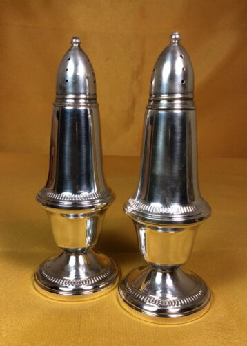 """Vintage Crown Sterling Silver 5"""" Tall Weighted Salt And Pepper Shaker"""
