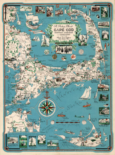 Cape Cod Chart, Martha's Vineyard and Nantucket Vintage History Poster Wall Map