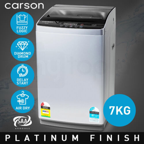 CARSON Washing Machine 7kg Platinum Automatic Top Load Home Dry Wash <br/> 20% OFF. Must use Checkout Code PATRON20. Ends 29/10.