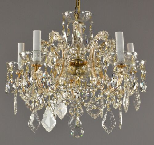 Crystal Marie Therese Chandelier c1950 Vintage Antique Restored Gold Glass