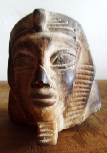 CARVED STONE EGYPTIAN/PHAROAH HEAD/DATE UNKNOWN
