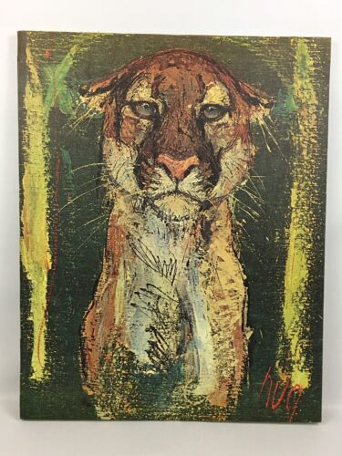 Mid-Century Modern FRITZ RUDOLPH HUG Vintage MOUNTAIN LION Lithograph Canvas Art