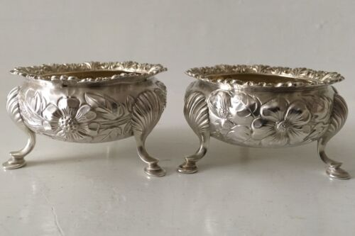 2 Beautiful Antique Gorham Sterling Silver Footed Salt Cellars