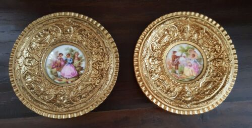 Pair Antique French Sevres Lovers Porcelain Plates Ormolu Gilt Repousse Frame