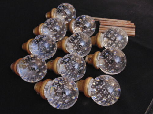 SET 11 ANTIQUE VICTORIAN ROUND GLASS DOOR KNOBS WITH FLOATING BUBBLES BRASS