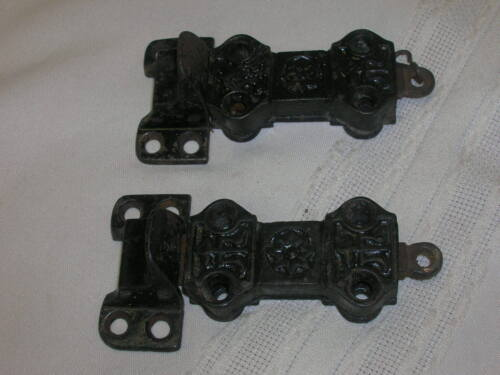 2 Antique Eastlake Cast Iron Spring Pull Door Latches With Keepers Ornate