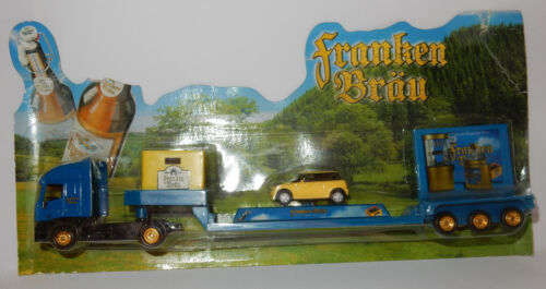 GRELL HO 1/87 CAMION TRUCK TRAILER IVECO STRALIS FRANKEN BRÄU BEER AUSTIN MINI