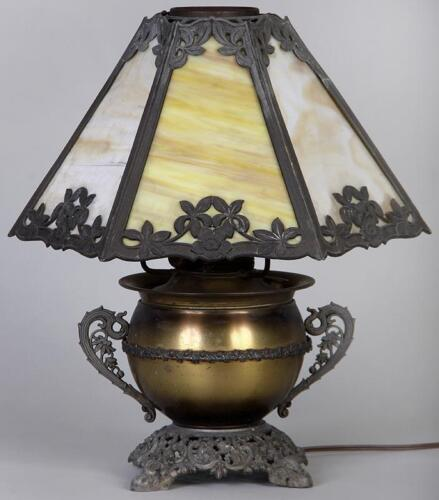 Miller slag glass lamp 1920 with urn base & slag glass shade Antique, marked