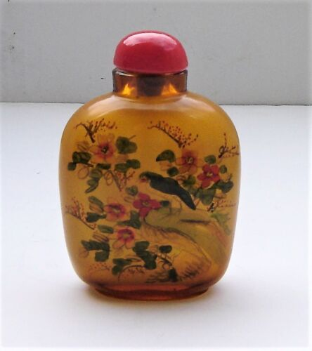 """Antique Chinese Reverse Paint Birds Snuff Bottle Hand Signed/Etched """"China"""" NICE"""