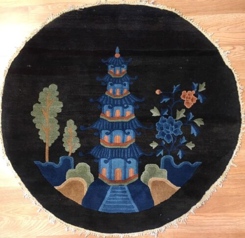 Captivating Chinese - 1900s Antique Peking Rug - Round Oriental Carpet - 3 ft.