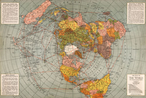 1943 Flat Earth World War II Map Polar Azimuthal Equidistant Projection Poster