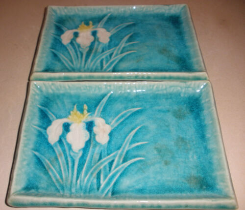 Pair Vintage Beautiful Art Nouveau flowers tiles plate tile dish