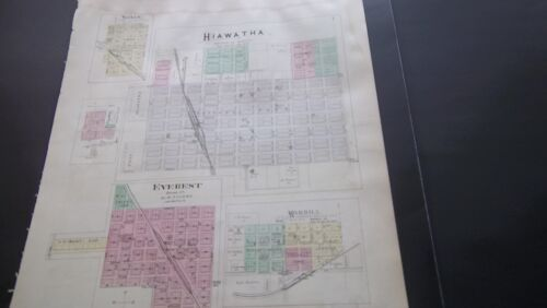 1887 HAND-COLORED MAP  ANDERSON & BROWN COUNTY KANSAS  PLAT MAPS