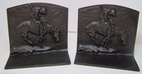 Orig 1920s BronzMet Native American Indian Horse Spear Cast Iron Bookends