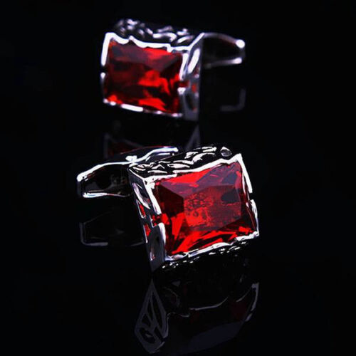 Red  Crystal Silver Square Mens Wedding Party gift shirt cufflinks cuff links