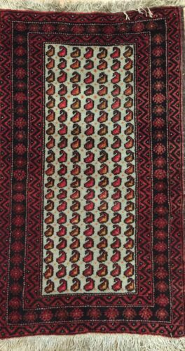 Beautiful Balouch - 1900s Antique Afghani Rug - Oriental Carpet - 1.9 x 2.10 ft.