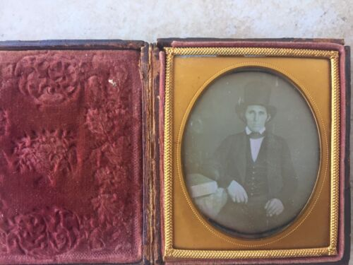 RARE HIGH FASHION STUDY DAG VINTAGE: Man in a Top Hat Sixth Plate Daguerreotype