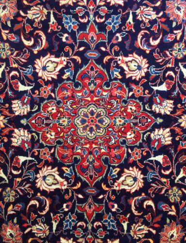 Fantastic Floral - 1940s Antique Oriental Rug - Handmade Carpet - 7.4 x 10.6 ft