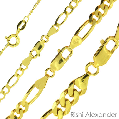 14k Gold over 925 Sterling Silver Figaro Mens Boys Chain Necklace All Sizes