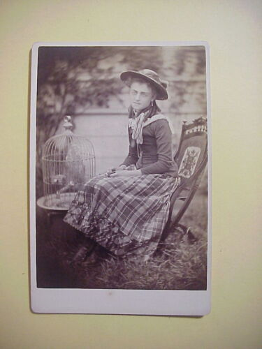 Antique CABINET CARD PHOTO of GIRL named ELLA with HAWK IN CAGE