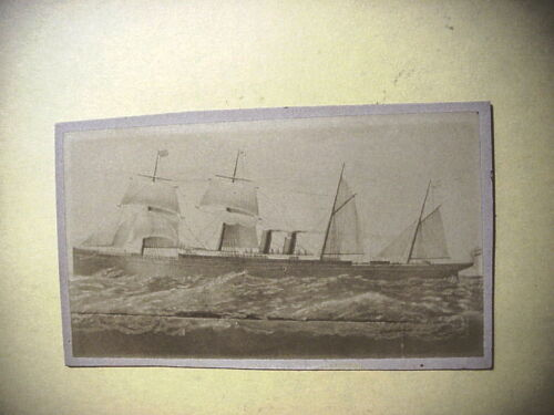 Antique CDV PHOTO of 4 Masted 2 Stacks SAILING STEAMSHIP with Crew on Deck