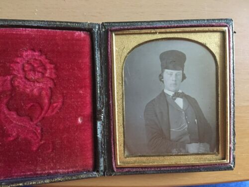 RARE WELL DRESSED VINTAGE MAN UNIQUE HAT: Daguerreotype of a Man with an Odd Hat