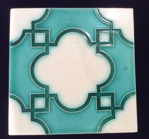 Art Nouveau Turquoise and White Tile  #6