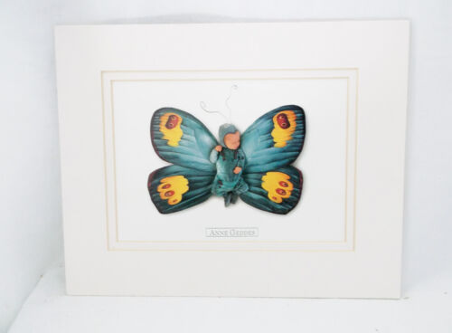 """Anne Geddes """"Carlin"""" Blue/Yellow Baby Butterfly 1999-Matted Unframed-10 X 8"""""""