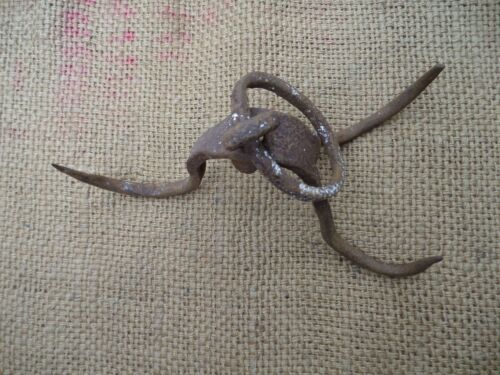 ANTIQUE WROUGHT IRON MEAT PIVOT FIREPLACE SKINING HOOK BLACKSMITH HAND FORGED