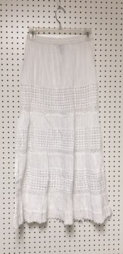 White 100% Cotton Boho Crochet Laced Trim Peasant Sweep Skirts in S to 3XL NWT