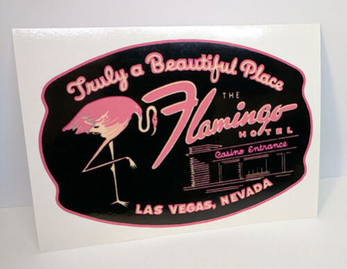 Las Vegas Flamingo Hotel Vintage Style Travel Decal, Vinyl Sticker,Luggage Label