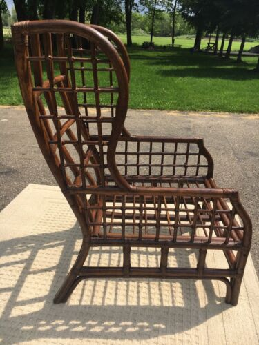 Vintage Cane High Back Chair Rare Rattan Look Wing Back Chair Decorative Accent