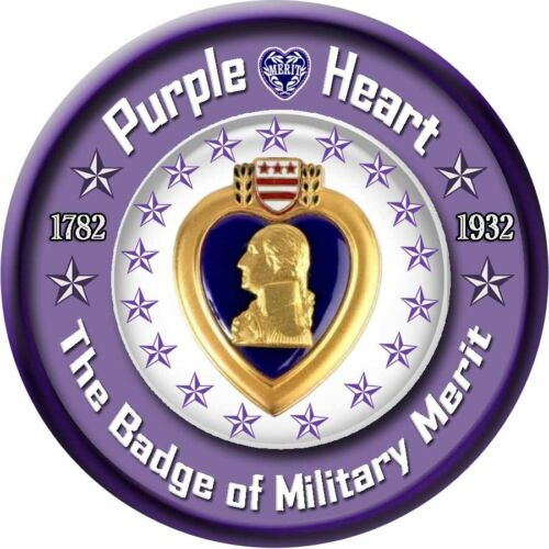 "Purple Heart - 5.5"" Round Magnetic Sign  - Tough, DurableOther Militaria (Date Unknown) - 66534"