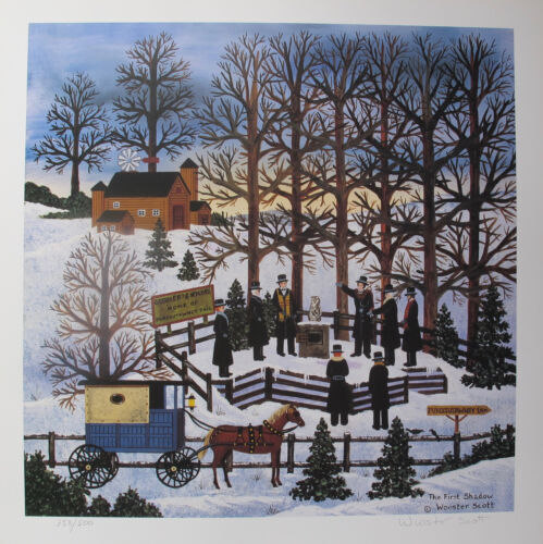 Jane Wooster Scott THE FIRST SHADOW Hand Signed L/E Lithograph GROUNDHOG DAY Art