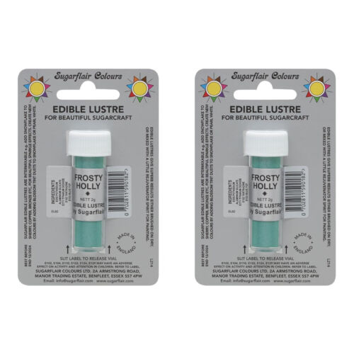 2 x SugarFlair Edible Frosty Holly Lustre Powder Food Colour Icing Cake Decor