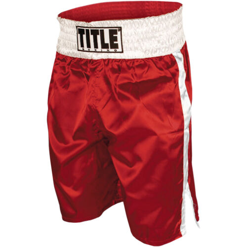 Title Professional Boxing Trunks - Red/White <br/> Exclusive Seller of TITLE Boxing on eBay