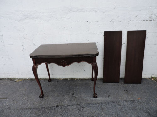 Carved Chippendale Convertible Ball And Claw Foot Library Console Table 7991