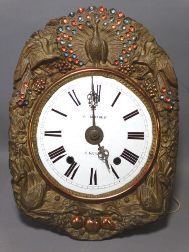 19thC Antique FRENCH Wag on Wall PEACOCK Floral BRASS Repousse GRANDFATHER CLOCK