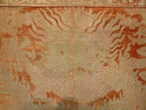 Early 19th C. Qing [Ching] Dyn. Chinese Silk Cut-Velvet 4-Claw Dragon Frontal