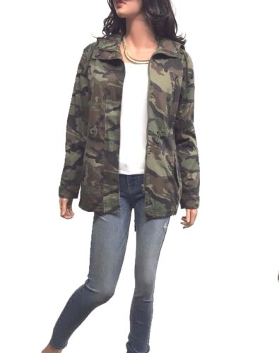 Women's Drawstring Utility Anorak Military Camo Jacket with Hoddy 1XL, 2XL, 3XL