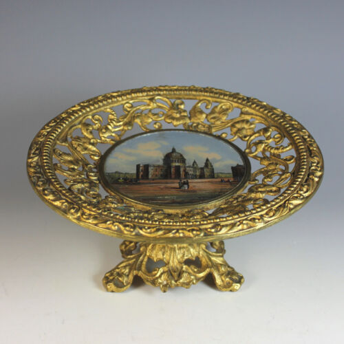Antique Grand Tour Eglomise Card Tray Souvenir of St. Pauls Cathedral London