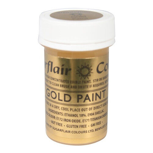 2 x Sugarflair Gold Edible Paint Cake Icing Matt Colour Sugarpaste Decorating