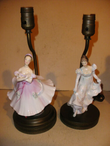 Lot of 2 Vintage Royal Doulton Porcelain Lady ballerina dancer Table Lamp lamps