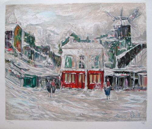 MAURICE UTRILLO Hand Signed Lithograph by Marc Kniebihler WINTER IN MONTMARTE
