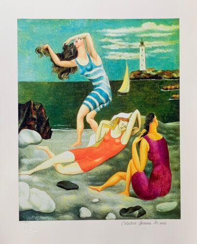 """Pablo Picasso THE BATHERS Estate Signed Limited Edition Giclee Art 26"""" x 20"""""""