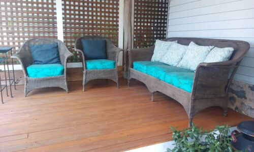 Antique Lloyd Loom 3 pieces Wicker Porch Furniture Set Sofa and 2 Chairs