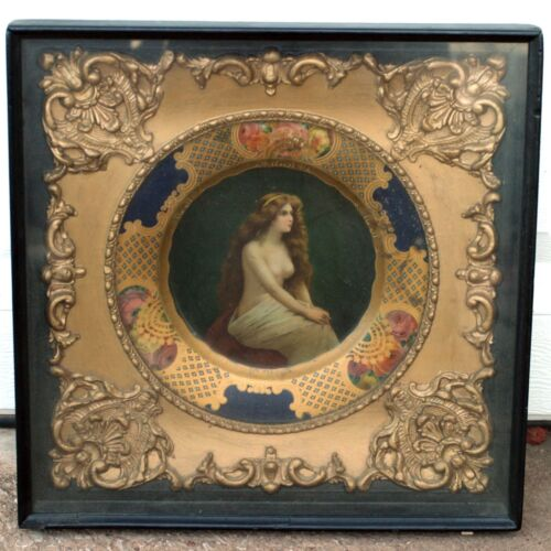 RARE 1908 The Nude Vienna Art Plate Tin Lithograph Gold Guilt in ShadowBox Frame