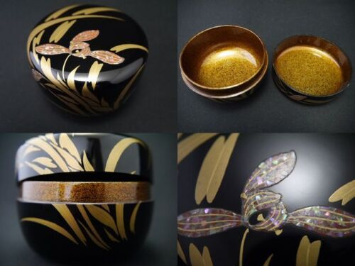 Japanese WAJIMA Lacquer Wooden Tea Caddy IRIS makie Hira-Natsume NASHIJI (1101)