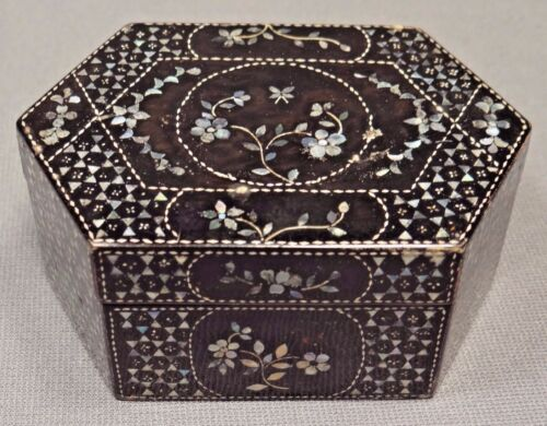 19th C. Qing Dynasty Chinese Lacquer Box with Mother of Pearl Inlay